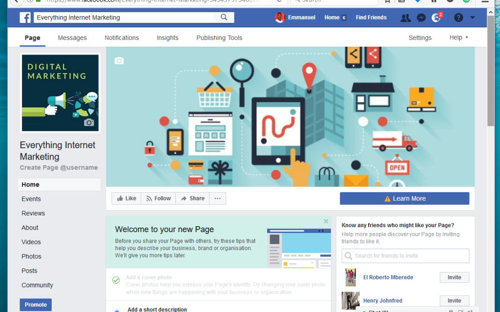 how to add information on home page facebook